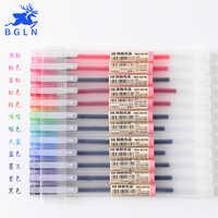 12 uds/lote 0,5mm Juego de bolígrafos de Gel Colorfule máquina de tinta Linda pluma escuela Oficina suministro estilo Muji 12 colores Papelaria Material Escolar
