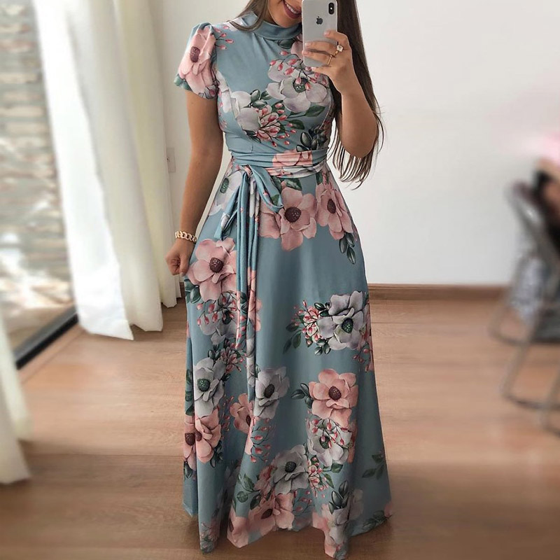 Avodova Women Boho Beach Long Dress Summer Print Plus Size Dresses Short Sleeve O Neck Party Bandage Sundress