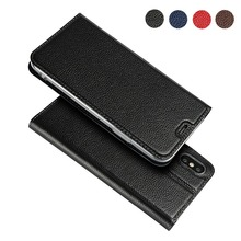 LUCKBUY For iPhone X XR XS Max Ultra-thin First Layer Cowhide Litchi Grain Genuine Leather Flip Case for 7 8 6 6S Plus