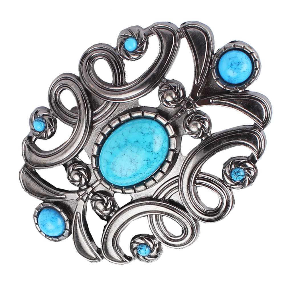 Vintage Antique Silver Blue Faux Turquoise Belt Buckle Western Buckles For Men Women Hallow Out Blue Diamond Decoration