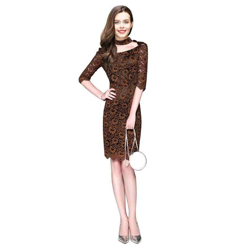 058c8781603 Women Tunic Business Dress New Office Work Vestidos Quarter dress Women  Summer Dress Vintage Solid Party