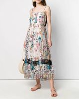 2019 Summer New Elegant Floral Print Pleated Maxi Dress Womens Vacation Holiday Boho Chiffon Dresses Runway Designer Vestidos