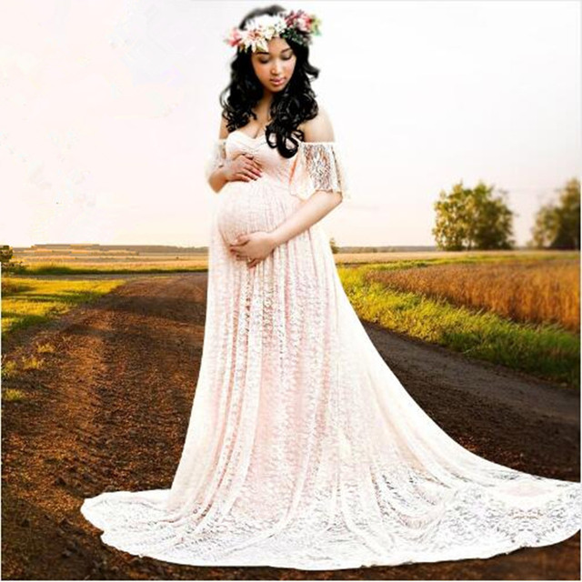 Maternity Photography Props Fashion Pregnancy Women Gown Long Dresses  Trailing Baby Shower Clothing Plus Size Lace+Cotton Dress