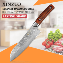 XINZUO 7″ inch santoku knife Japanese VG10 Damascus steel kitchen chef knife Japanese chef knife color wood handle FREE SHIPPING
