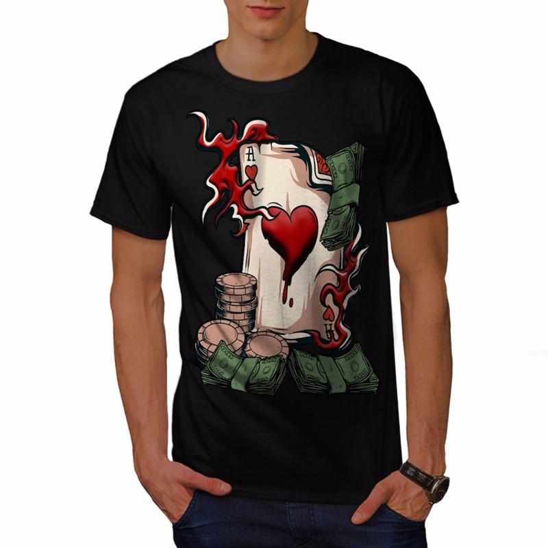 Cool Shirt Designs O-Neck Short Sleeve Print Mens Bet Card Board Casino Tee