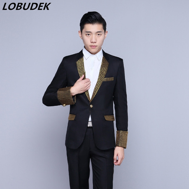 2ce516ab135 Black white Formal male suits Prom stage men s singer Host performance costumes  Wedding groom slim fashion