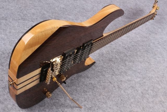 האיכות הטובה ביותר סיני מותאם אישית 6 מיתרי צוואר Thru גיטרה חשמלית עם Floyed עלה, זהב חומרת משלוח חינם