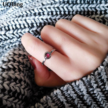 New Arrivals 925 Sterling Silver Red Stone Rings For Women Girl Jewelry Crystal Stone Open Rings Adjustable Rings