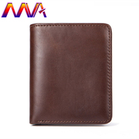MVA Fashion cow leather men wallet with 100% genuine leather men vertical wallet for card holder wallet men short wallets