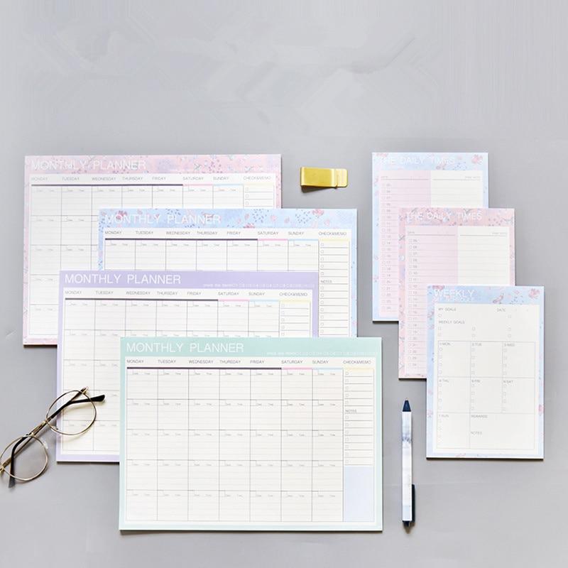 2019 2020 Notebook Kawaii Daily Weekly Monthly Yearly Calendar Planner Agenda Schedule Organizer Journal Book School A4 Flower