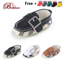 New 2016 British Brand Burbry Striped Gingham Baby Shoes High Quality Leather Warmth Baby Boy Moccasins Newborn Shoes