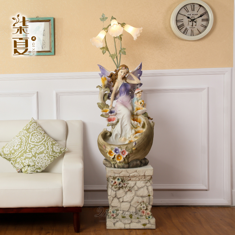 Seven Summer Angel beauty figure European style living room lamp water fountain Home Furnishing large floor decoration accessori