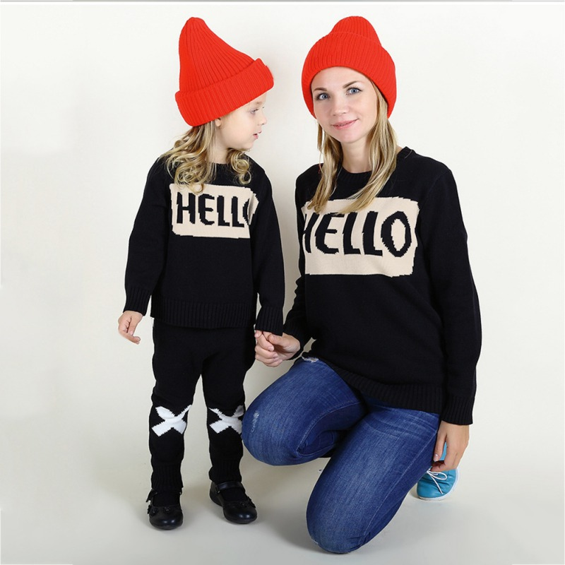 Hot 1pcs Family Matching Outfits Parent-child Letter Sweater 2018 New Mother Daughter Casual Knit Sweater Children\s Clothing WHot 1pcs Family Matching Outfits Parent-child Letter Sweater 2018 New Mother Daughter Casual Knit Sweater Children\s Clothing W