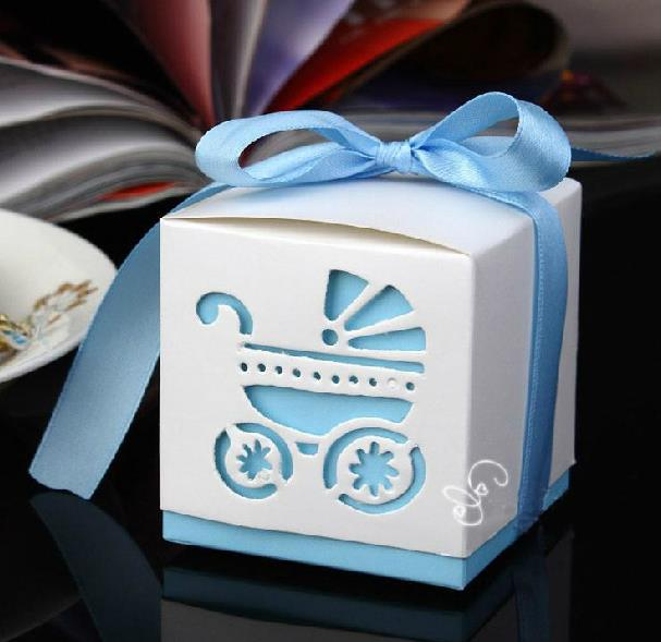 50pcs Laser Cut Carriage Gift Candy Boxes Wedding Favors and Gifts Baby Shower Party Decoration-2