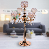 5 arms candelabrum Candle Holder with Crystal Beads Centerpiece for Wedding Table Centerpieces for Dinner Table Decoration