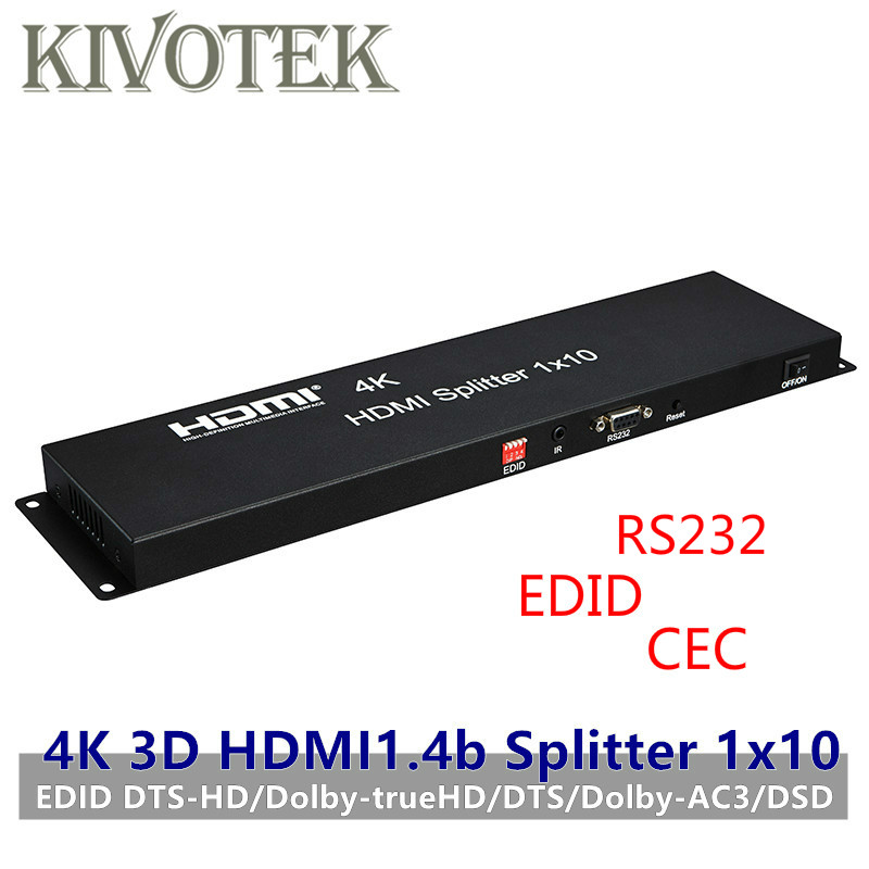 HDMI Splitter 1x10 Adapter 4K 3D  EDID Amplifier Hdmi Switcher 1 to 10 Displays Female Connectors for HDTV Display Free Shipping-in Computer Cables & Connectors from Computer & Office