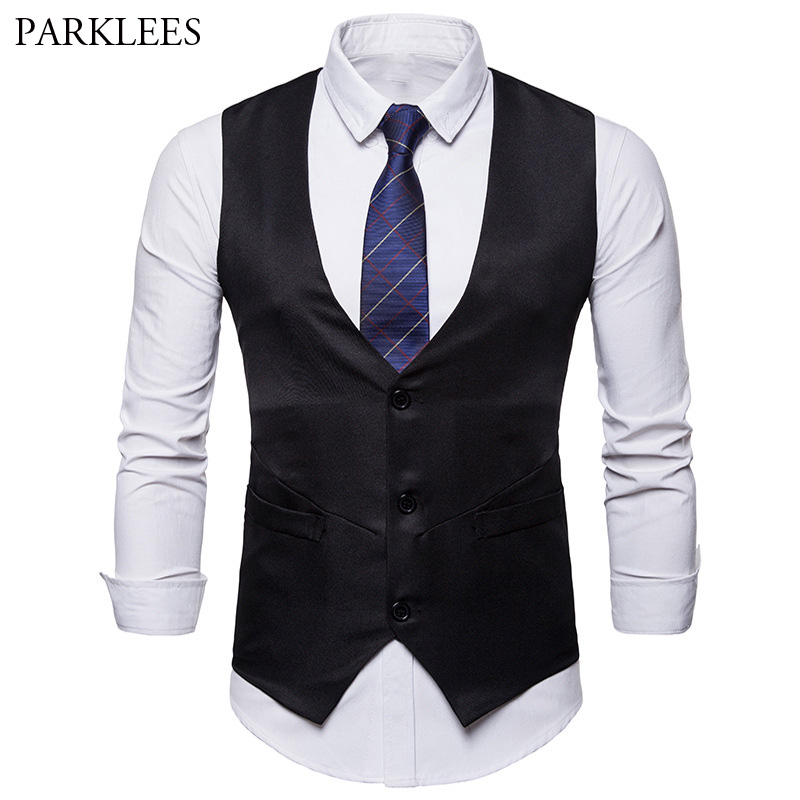 Mens Solid Color Single Breasted Vest Men Dress Suit Vest Men Formal Business Wedding Tuxedo Vest Suit Gilet Colete Masculino