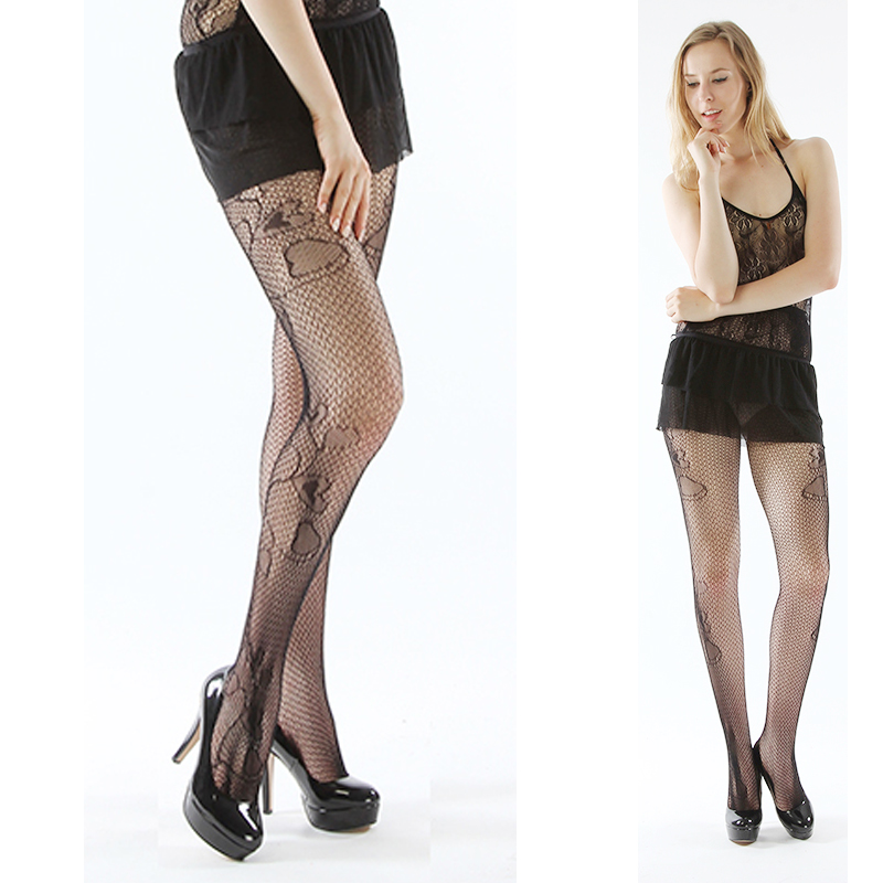 1 x Fashion <font><b>Sexy</b></font> Stocking Hollow Out Spandex Heart Shape Backing Pantyhose Tights Black <font><b>Sexy</b></font> Accessories <font><b>2013</b></font> image