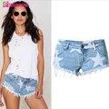 Estilo europeu Estrelas Impressão Mulheres Shorts Moda Desgastado Borla Shorts Jeans Lavado Sexy Cintura Baixa de Super Calções Calções de Verão Shorts Jeans