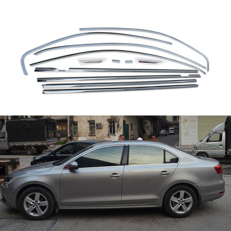 Full Window Trim Decoration Strips Stainless Steel Car Styling For Volkswagen Sagitar Jetta 2013 2014  Accessories OEM-12 high quality stainless steel strips car window trim decoration accessories car styling 16pcs for 2013 2015 kia carens
