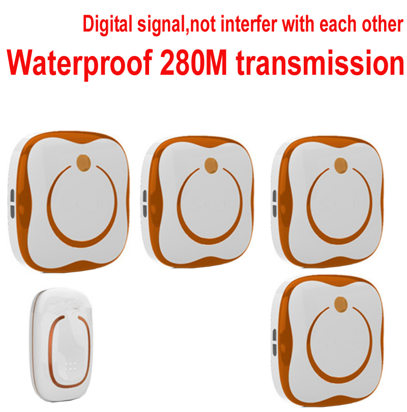 1 emitter+4 receivers Waterproof 280M Long-range wireless doorbell,wireless door chime,wireless bell,door bell,48 melodies bell