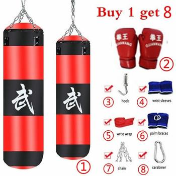 8Pcs/Set Fitness Training Muay Thai Fight Sanda Training Punching Bag MMA Boxing Punching Bag Sport Kick Hanging Sandbag Set wesing mma trunks muay thai boxing short pants sport cool spider pattern kick boxing sport fitness training shorts