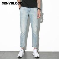 Denyblood Jeans 2017 Summer Mens Stretch Denim Bleached Vintage Washed Slim Straight Casual Pants Distressed Jeans
