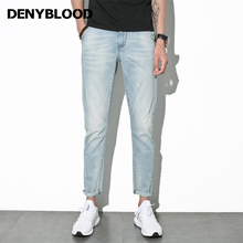 Denyblood Jeans 2017 Summer Mens Stretch Denim Bleached Vintage Washed Slim Straight Casual Pants Distressed Jeans Ripped 1010
