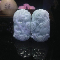 Natural jadeite jade pendant Longfeng Yu Pei jade pendant Longfeng pei for women and men Love gift a pair