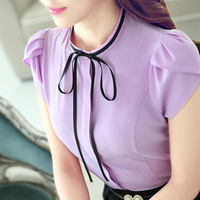 2016 Women S O Neck Petal Sleeve Bow Shirt Female Elegant Short Sleeve Work Wear Blouse