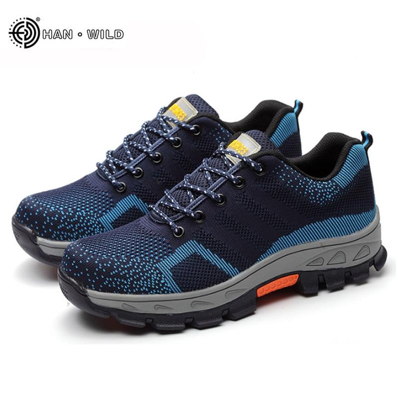 Мужские сетчатые дышащие ботинки со стальным носком, на весну/лето