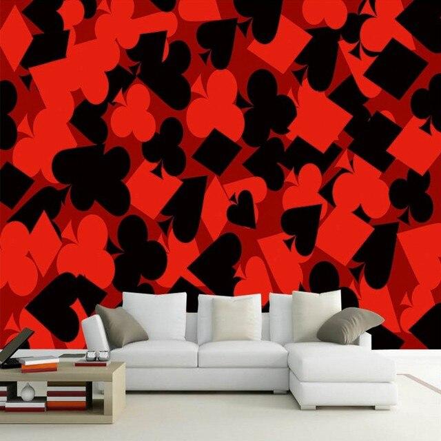 Papier Peint Pour Les Murs 3 D Belle Mode Rouge Noir Poker Fond Mur Chambre  D
