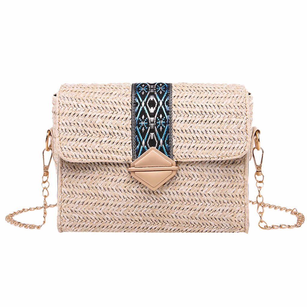 2019 New Square Straw Bags Women Summer Rattan Bag lady Handmade Woven Beach Cross Body Bag Bohemia Handbag Bali travel vocation