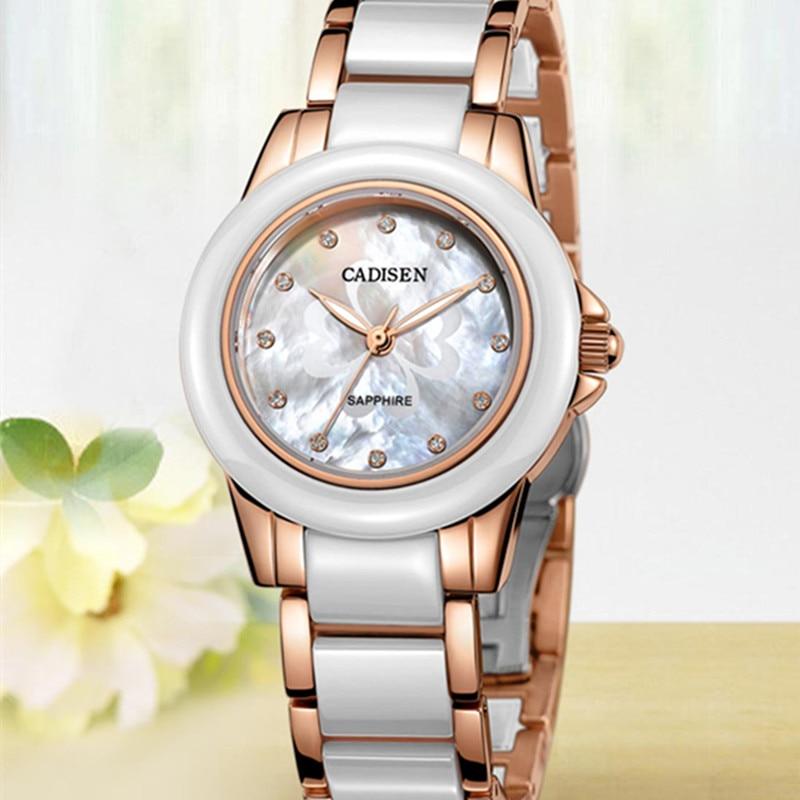CADISEN luksusowa marka złoty ceramiczne pasek kobiet zegarka mody panie zegarek kwarcowy szafirowe zegar Relogio Feminino prezent Box w Zegarki damskie od Zegarki na  Grupa 1