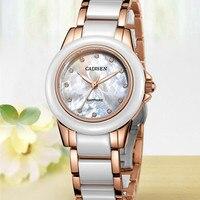 Vender Reloj CADISEN de lujo con correa de cerámica dorada para mujer, reloj de cuarzo a la moda para mujer, Reloj de cristal de zafiro, caja de regalo femenina