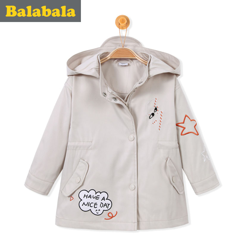 balabala Children trench coats casual cute girls boys jacket spring Kids Clothes Windproof kids autumn soft Jackets costume