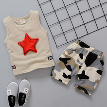 baby boy t-shirt+short pants 2pcs clothes kids 2019 summer clothes baby girl sleeveless sets infant clothing red star pattern wholesale baby girl clothes summer blue sleeveless top fish embroidery decor pattern fashion ruffle shorts matching boy t shirt