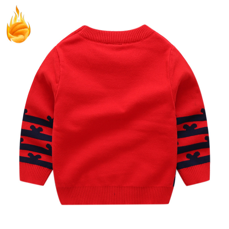 1e0f49a68 Baby Boy Sweater Cartoon Mickey Embroidery Jacquard Weave Girls Sweaters  Knitted Fleece Thickened Cute Toddler Boys Clothes Kids-in Sweaters from  Mother ...