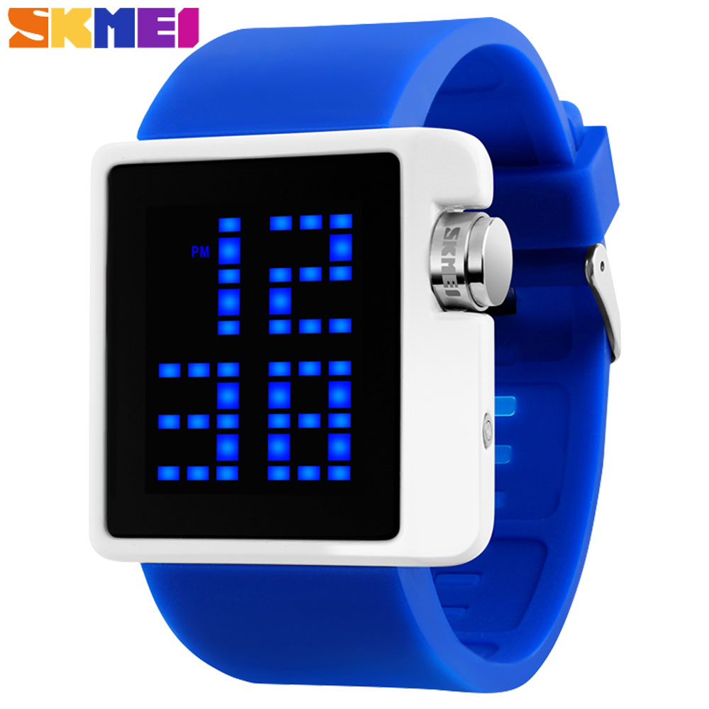 SKMEI 2017 china brand watches women fashion sports digital LED watch blue black red dials 30M