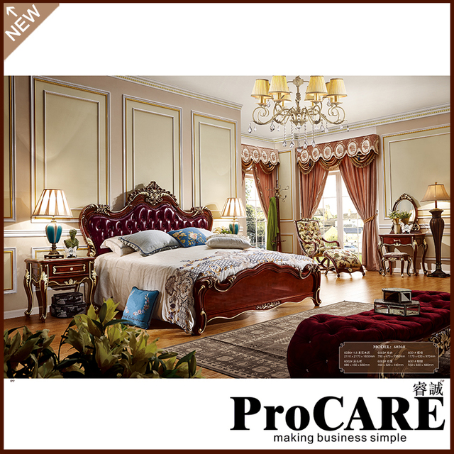 New Design Royal Luxury Design Home Furniture Solid Wood King Size Bedroom  Set