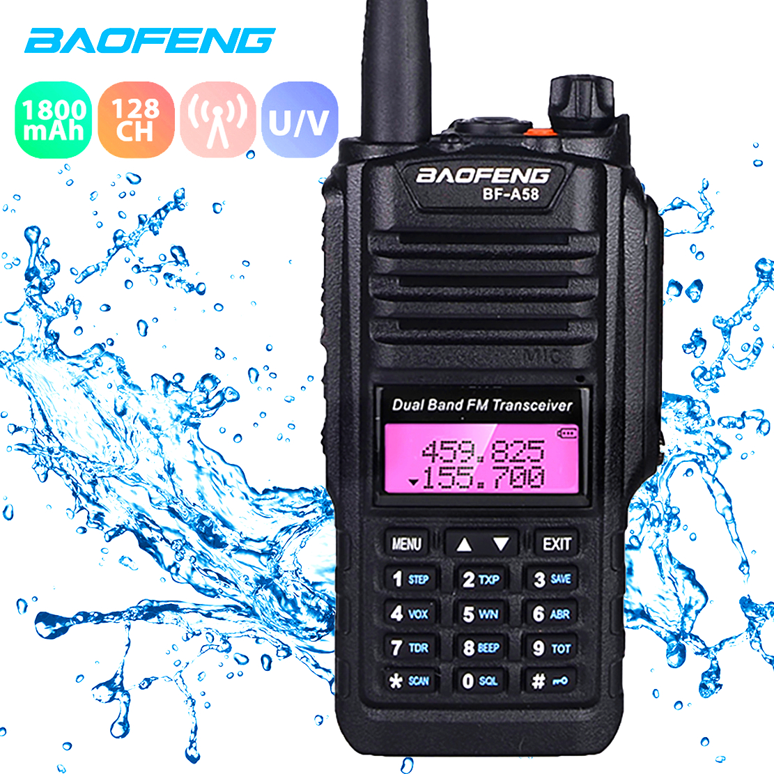 Baofeng A58 Walkie Talkie IP67 Waterproof Two Way Radio Station 5W Dual Band Intercom Protable BF-UV9R Transceiver CB Ham Radio