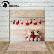 Allenjoy photographic background Love teddy bear toys board backdrops boy christmas fabric Excluding bracket 8×8