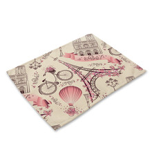 Tower Heart Pattern Kitchen Place mat Dining Table Mat Drink Coaster Cotton Linen Pads Cup Mats 42*32 cm Home Decor