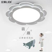 Children bedroom modern minimalist acrylic ceiling lamp flower led remote dimming girl children room lamps