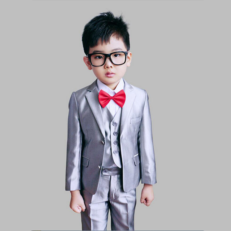 Boys Gray Wedding suits Jacket Vest Trouser 3PCS Formal Clothes sets Kids Tuxedos for Weddings Page boy Outfits 2016 new arrival fashion baby boys kids blazers boy suit for weddings prom formal wine red white dress wedding boy suits