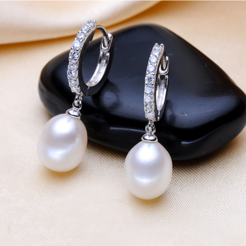 8 9mm Wedding Freshwater Silver Pearl Hoop Earrings White Natural Jewelry For Women Trendy Birthday Gift In From