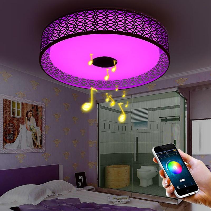 Modern Bluetooth audio music light led ceiling lamp bedroom room lamp LED ceiling lamp mobile phone APP + remote control Dimming цена