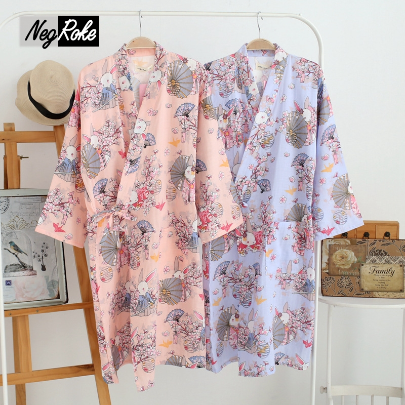 New spring 100 cotton japanese kimono robes for women Long cotton sleep shirts