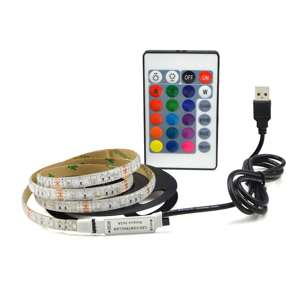 Color Changing Tape Light: 1M 2M 3M 4M 5M RGB 3528 USB LED Strip Light 5V Color