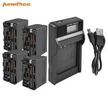 цена на Powree For Sony 4PCS 7.2V 8700mAh NP F960 NP-F960 NPF960 Battery + LCD Charger Replacement NP F750 770 950 970 CCD-SC5 HVR-Z1J